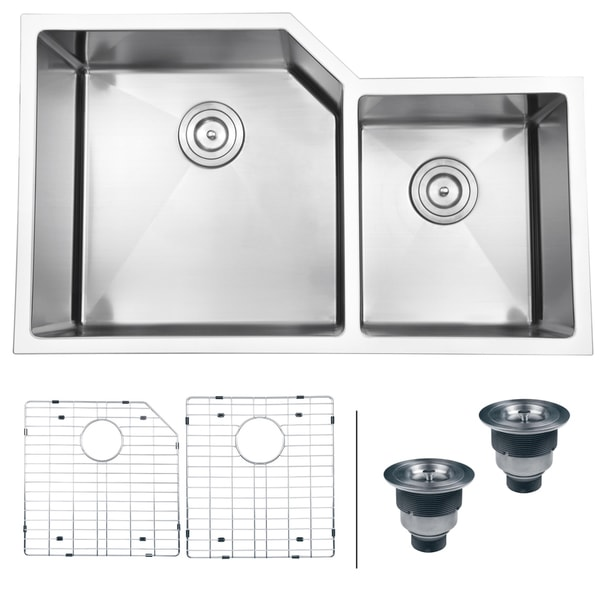 "Ruvati 33"" Undermount 16 Gauge Double Bowl Kitchen Sink - RVH8150"