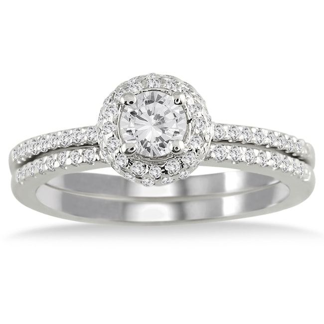 Marquee Jewels  10k White Gold 5/8ct TDW Diamond Halo Bridal Ring Set (I-J, I1-I2) - Thumbnail 0