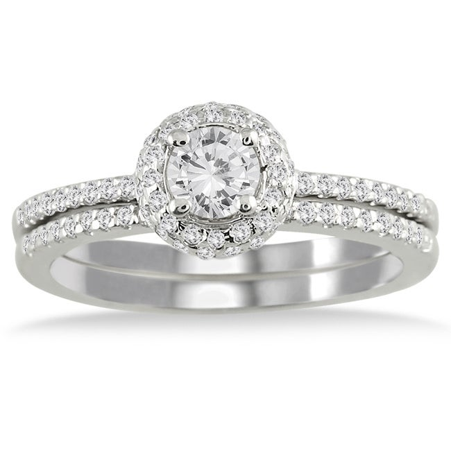 Marquee Jewels  10k White Gold 5/8ct TDW Diamond Halo Bridal Ring Set (I-J, I1-I2)