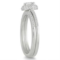 Marquee Jewels  10k White Gold 5/8ct TDW Diamond Halo Bridal Ring Set (I-J, I1-I2) - Thumbnail 1