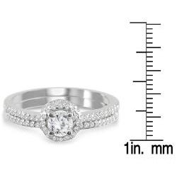 Marquee Jewels  10k White Gold 5/8ct TDW Diamond Halo Bridal Ring Set (I-J, I1-I2) - Thumbnail 2
