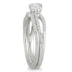 Marquee Jewels  10k White Gold 5/8ct TDW Diamond Bridal Ring Set (I-J, I1-I2) - Thumbnail 1