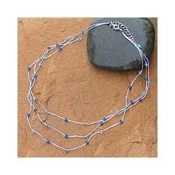SIlk and Glass 'Sparkling Blue Trio' Necklace (Thailand)