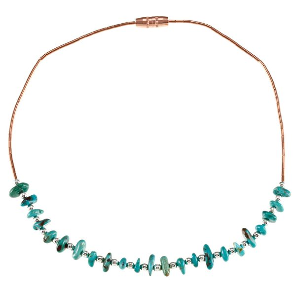 Southwest Moon Liquid Copper Turquoise Chip 10-inch Anklet