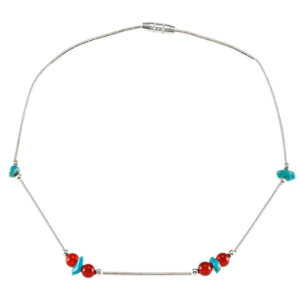 Southwest Moon Liquid Metal Carnelian and Turquoise Chip 10-inch Anklet