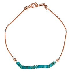 Southwest Moon Liquid Copper Turquoise Heishi 7.5-inch Bracelet