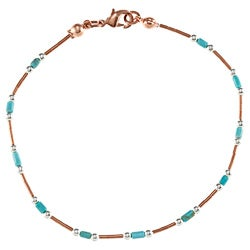 Southwest Moon Liquid Copper Turquoise Heishi Station 7.5-Inch Wrap Bracelet