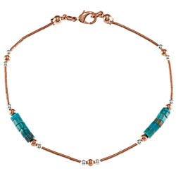 Southwest Moon Liquid Copper Turquoise Heishi Station 7.5-inch Bracelet
