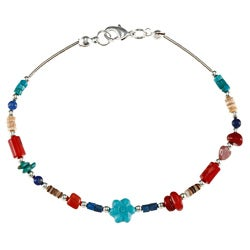 Southwest Moon Liquid Metal Multi-gemstone Bead 7.5-Inch Bracelet