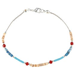 Southwest Moon Liquid Metal Multi-gemstone Heishi 7.5-inch Bracelet