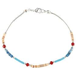 Southwest Moon Liquid Metal Multi-gemstone Heishi 7.5-inch Bracelet