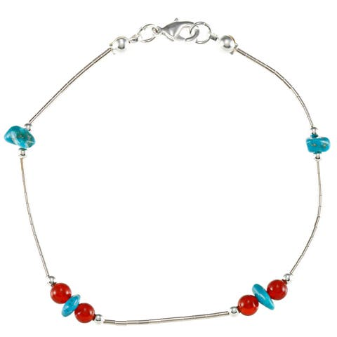 Southwest Moon Liquid Metal Carnelian and Turquoise 7.5-inch Bracelet