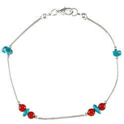 Southwest Moon Liquid Metal Carnelian and Turquoise 7.5-inch Bracelet