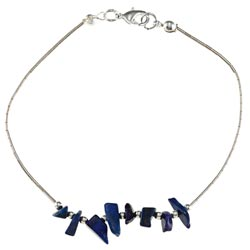 Southwest Moon Liquid Metal Lapis Chip 7.5-inch Bracelet