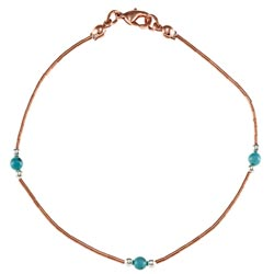 Southwest Moon Liquid Copper Blue Turquoise Station 7.5-inch Bracelet