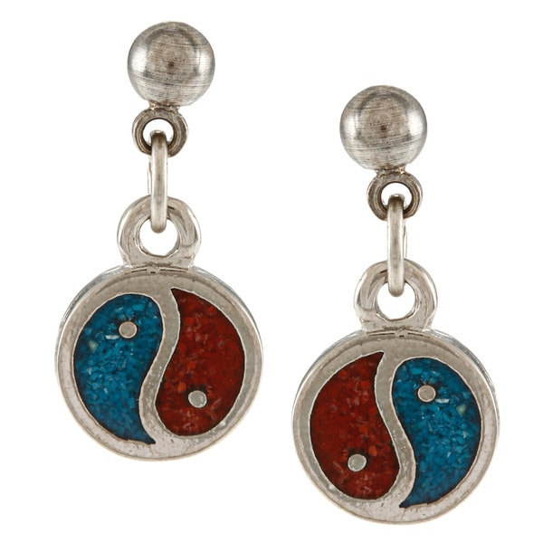 Southwest Moon Silvertone Turquoise and Coral Inlay Yin-Yang Dangle Earrings