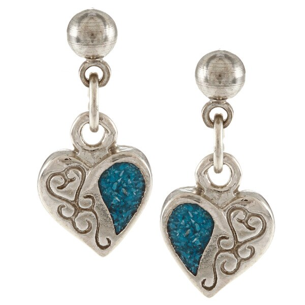 Southwest Moon Silvertone Turquoise Inlay Filigree Heart Earrings
