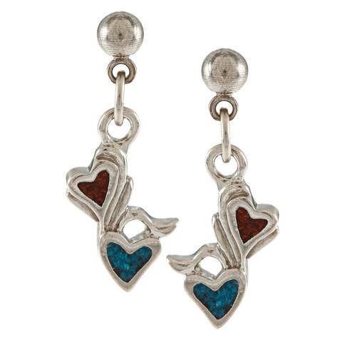 Southwest Moon Silvertone Turquoise and Coral Floral Heart Earrings - Blue