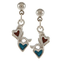Southwest Moon Silvertone Turquoise and Coral Floral Heart Earrings