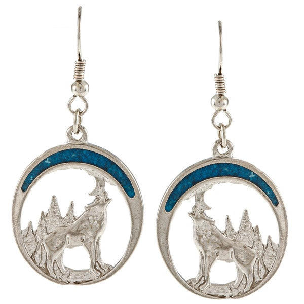Southwest Moon Silvertone Turquoise Inlay Howling Wolf Earrings