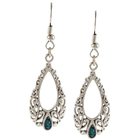 Southwest Moon Silvertone Turquoise Inlay Filigree Teardrop Earrings