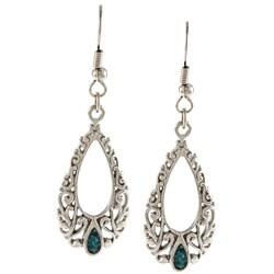 Southwest Moon Silvertone Turquoise Inlay Filigree Teardrop Earrings