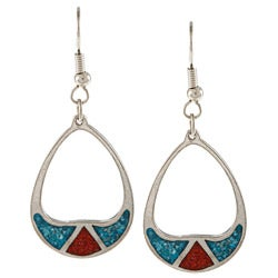 Southwest Moon Silvertone Turquoise and Coral Inlay Teardrop Earrings