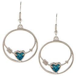 Southwest Moon Silvertone Turquoise Inlay Heart and Arrow Earrings