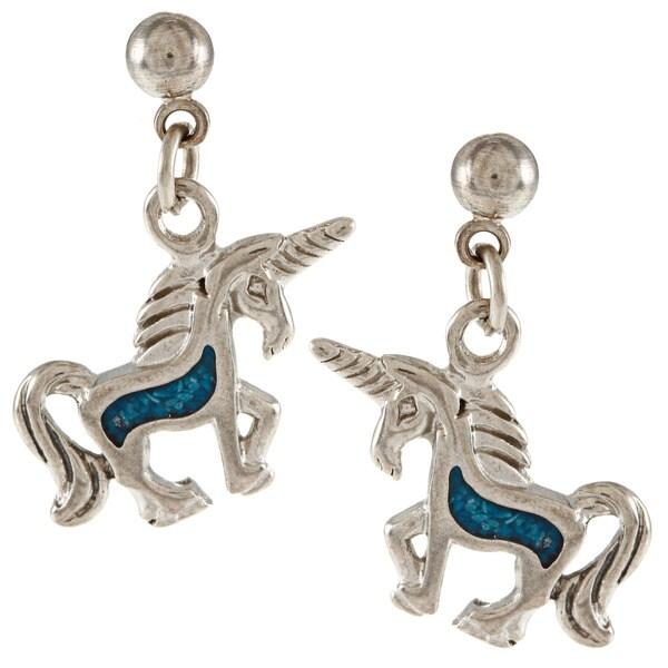 Southwest Moon Silvertone Turquoise Inlay Unicorn Ball Post Earrings