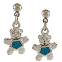 Southwest Moon Stainless Steel Turquoise Inlay Teddy Bear Dangle Earrings