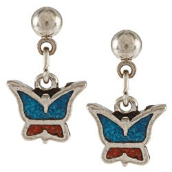 Southwest Moon Stainless Steel Turquoise and Coral Inlay Butterfly Dangle Earrings