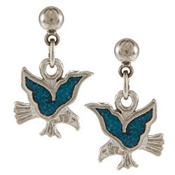 Southwest Moon Stainless Steel Turquoise Inlay Eagle Dangle Earrings
