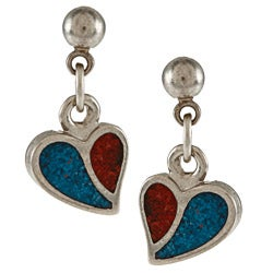 Southwest Moon Silvertone Turquoise and Coral Inlay Curved Heart Dangle Earrings