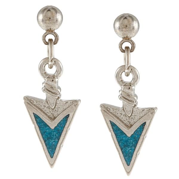 Southwest Moon Silvertone Turquoise Inlay Arrowhead Dangle Earrings