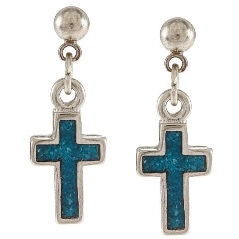 Southwest Moon Silvertone Turquoise Inlay Cross Dangle Earrings - Blue