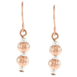 Southwest Moon Copper Twisted Bead Earrings