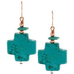 Southwest Moon Howlite and Turquoise Cross Earrings