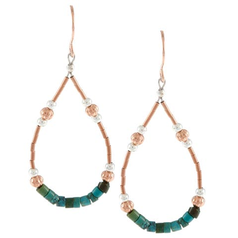 Southwest Moon Green Turquoise Heishi Liquid Copper Loop Earrings