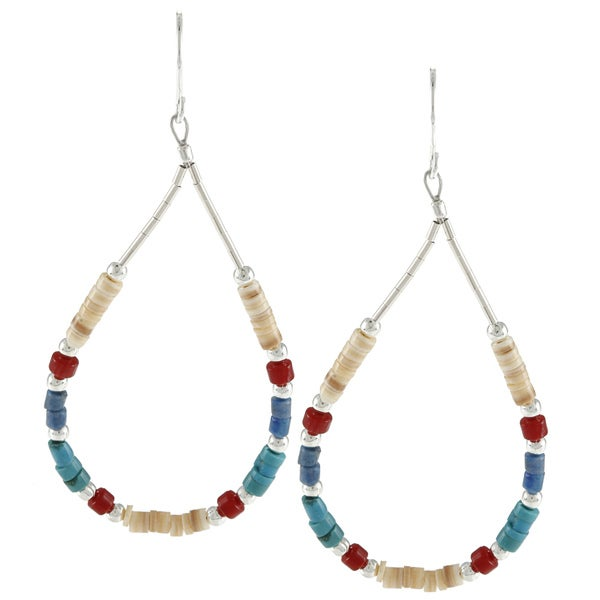 Southwest Moon Silvertone Liquid Metal Multi-gemstone Heishi Earrings