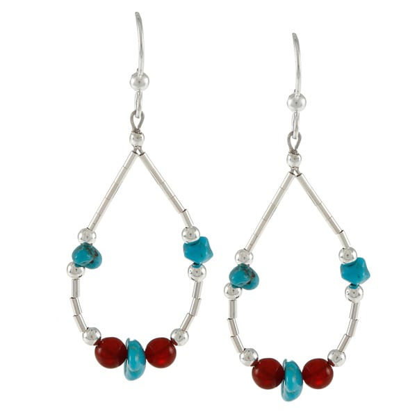 Southwest Moon Liquid Metal Carnelian and Turquoise Chip Earrings