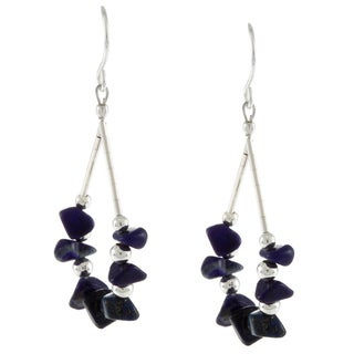 Southwest Moon Liquid Metal Lapis Chip Loop Earrings - Blue