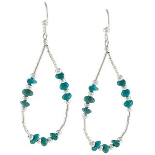 Southwest Moon Liquid Metal Turquoise Chip Loop Earrings