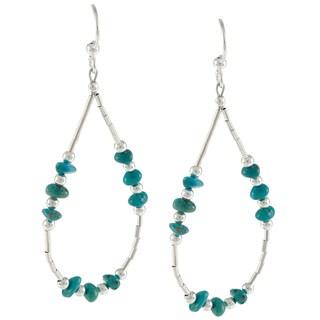 Southwest Moon Liquid Metal Turquoise Chip Loop Earrings