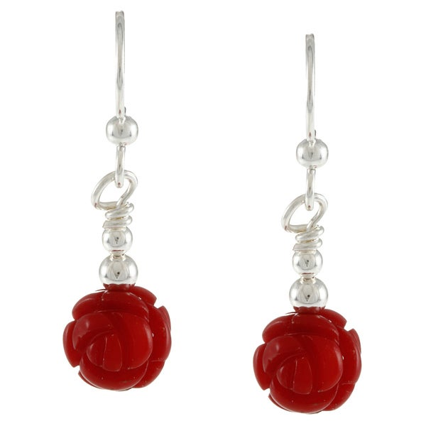 Southwest Moon Silvertone Dyed Coral Carved Rose Earrings