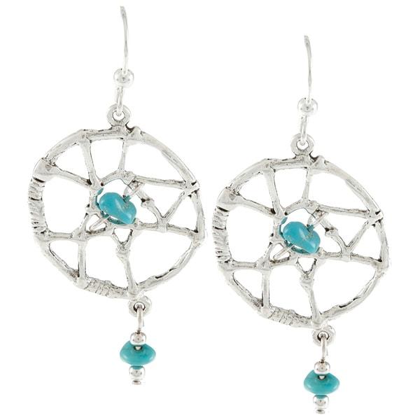 Southwest Moon Silvertone Turquoise Chip Large Dreamcatcher Earrings