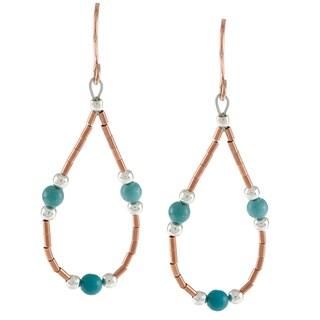 Southwest Moon Liquid Copper Blue Turquoise Loop Earrings
