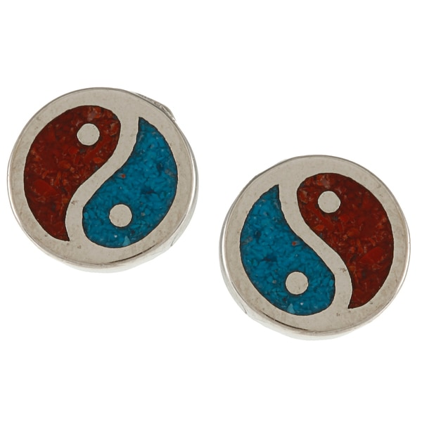 Southwest Moon Silvertone Turquoise and Coral Inlay Yin-yang Earrings