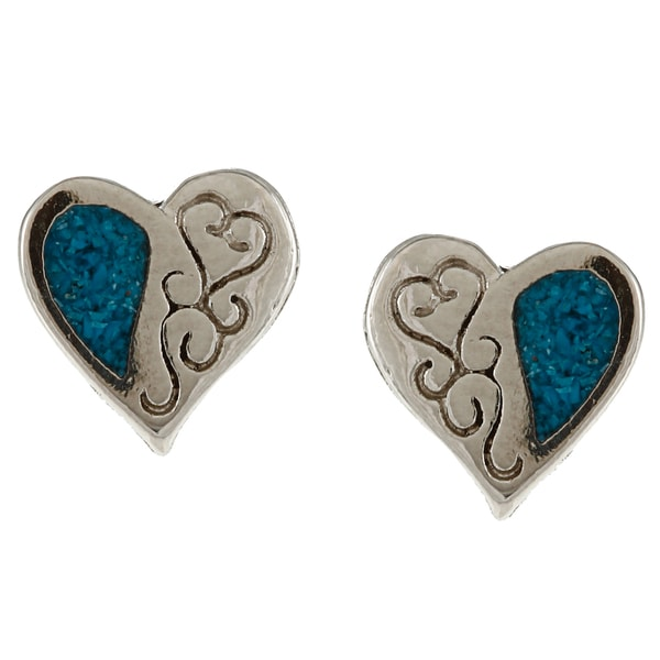 Southwest Moon Silvertone Turquoise Inlay Filigree Heart Post Earrings