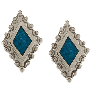 Southwest Moon Silvertone Turquoise Inlay Diamond-shaped Post Earrings