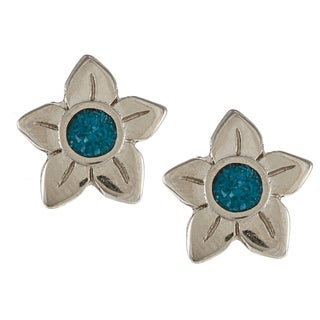 Southwest Moon Silvertone Turquoise Inlay Flower Post Earrings
